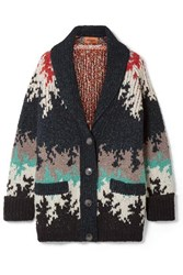Missoni Intarsia Knitted Cardigan Navy