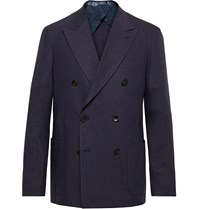 Etro Navy Unstructured Double Breasted Linen Blend Blazer Blue