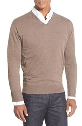 Men's Peter Millar Tipped Cashmere Blend V Neck Sweater Mahogany