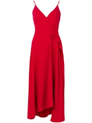 Victoria Beckham Crepe Asymmetric Shift Dress With Bias Ruffle Silk Acetate Viscose Red