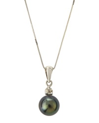 Belpearl Tahitian Pearl And Diamond Pendant Necklace