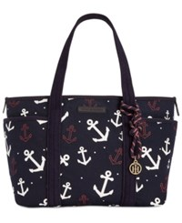 Tommy Hilfiger Extra Large Dariana Anchor Tote Navy White