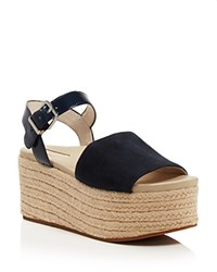 Kenneth Cole Women's Indra Suede And Patent Leather Platform Espadrille Wedge Sandals Marine Blue