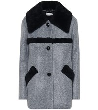 Coach Shearling Trimmed Coat Grey