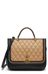 Mulberry Amberley Quilted Calfskin Leather Satchel Black Black Tan Multi