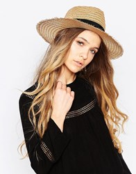 Aldo Straw Panama Hat With Textued Band Brown