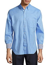 Tailorbyrd Ruby Falls Solid Cotton Shirt Turquoise