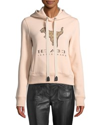 Coach Signature Rexy Logo Hooded Sweatshirt Pink