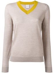 Paul Smith Bicolour V Neck Jumper Women Wool Xl Nude Neutrals