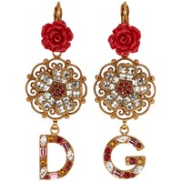 Dolce And Gabbana Gold Flower Crystal Earrings