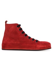 Ann Demeulemeester Blanche Hi Top Lace Up Sneakers Red