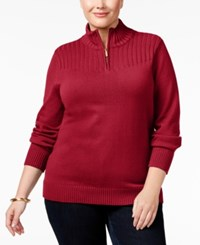 Karen Scott Plus Size Ribbed Mock Neck Sweater Only At Macy's New Red Amore