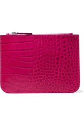 Iris And Ink Blake Croc Effect Leather Pouch Fuchsia
