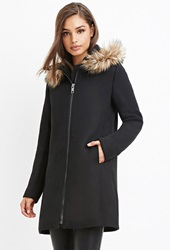 Forever 21 Faux Fur Trim Hooded Overcoat Black