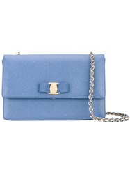 Salvatore Ferragamo Clutch Bag Women Leather Metal One Size Blue