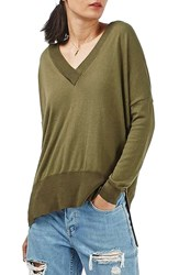 Topshop Women's Slouchy V Neck Sweater Olive