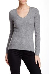 In Cashmere V Neck Cashmere Sweater Gray