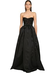 Zuhair Murad Moire And Lace Long Dress Black