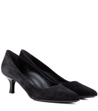 Tod's Decollete Suede Kitten Heel Pumps Black