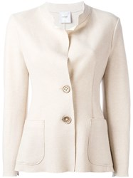 Agnona Buttoned Fitted Jacket Neutrals