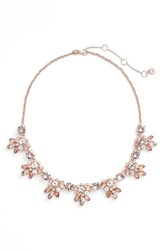 Marchesa Women's Frontal Crystal Necklace Silk Rose Gold