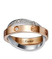 Cartier White And Pink Gold Diamond Paved Love Ring