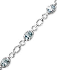 Macy's Sterling Silver Bracelet Aquamarine 5 Ct. T.W. And Diamond Accent