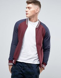 Brave Soul Baseball Zip Through Sweat Jacket Burgundy Red