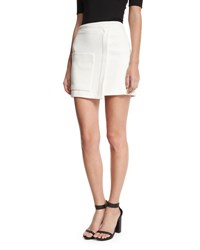 Halston Faux Wrap Mini Skirt White