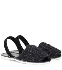 Del Rio London Wool And Suede Sandals Black