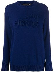 Love Moschino Logo Embroidered Jumper Blue
