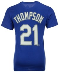 Majestic Men's Trayce Thompson Los Angeles Dodgers Official Player T Shirt Royalblue