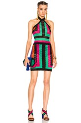 Balmain Crochet Halter Mini In Abstract Black Green Orange Pink Purple Abstract Black Green Orange Pink Purple