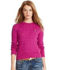Polo Ralph Lauren Cable Knit Crew Neck Sweater Berry