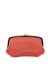 La Regale Mesh Pouch Bag With Snap Closure Coral