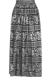 Temperley London Ora Metallic Cotton Blend Lace Maxi Skirt Silver