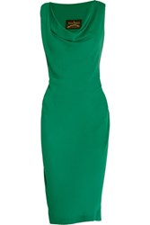 Vivienne Westwood Anglomania Virginia Draped Georgette Dress Green