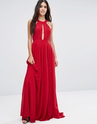 Pixie And Diamond Maxi Dress With Open Back Wrap Front Red
