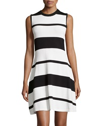 Neiman Marcus Striped Knit A Line Dress Black White