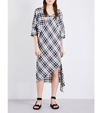 Rachel Comey Greatful Checked Cotton Midi Dress Ivory Navy