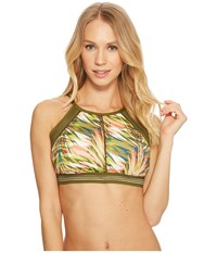 Jantzen Abstract Palm Leaf High Neck Bikini Top Multi Swimwear
