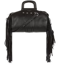 Sonia Rykiel Black Leather Fringed Gym Bag
