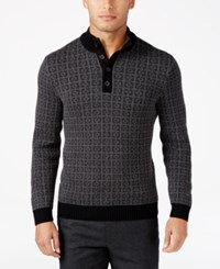 Tasso Elba Men's Big And Tall Jacquard Four Button Geometric Sweater Only At Macy's Black And Charcoal