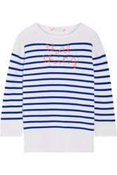 Lingua Franca That Thing Embroidered Striped Cashmere Sweater Bright Blue