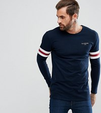 Illusive London Muscle Long Sleeve T Shirt In Blue With Stripes