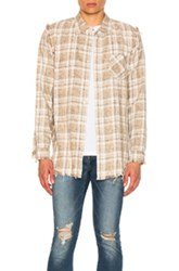 R 13 R13 Inside Out Shirt In Neutrals Checkered And Plaid Neutrals Checkered And Plaid