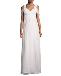 Donna Morgan Colette Dot Mesh Flowy Gown Women's White Lilly