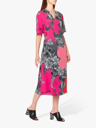 Paul Smith Large Floral Print Tie Back Midi Dress Pink Multi