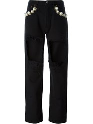 Forte Couture Cut Out Cropped Jeans Black