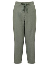 Gerry Weber Cropped Linen Trousers Avocado